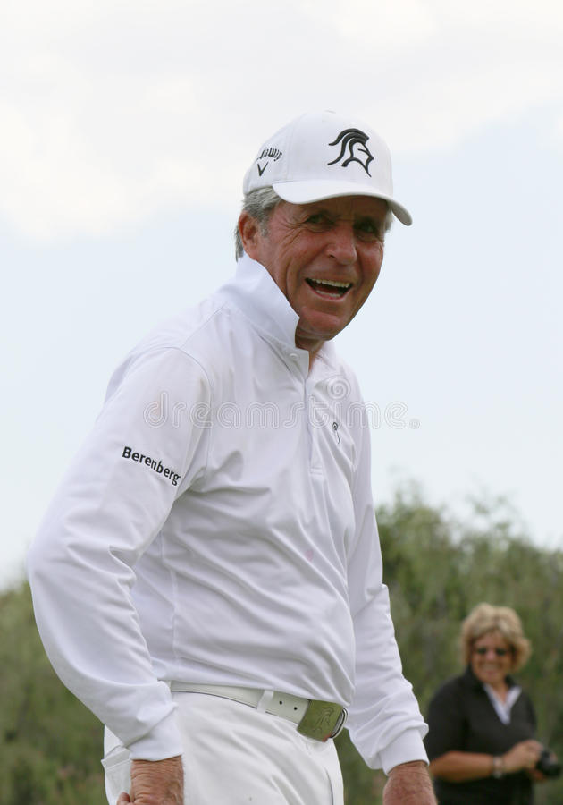 Tournament presenter and grand master Gary Player laughing through the second 18 at 80 years on November 2015 in South Africa stock image