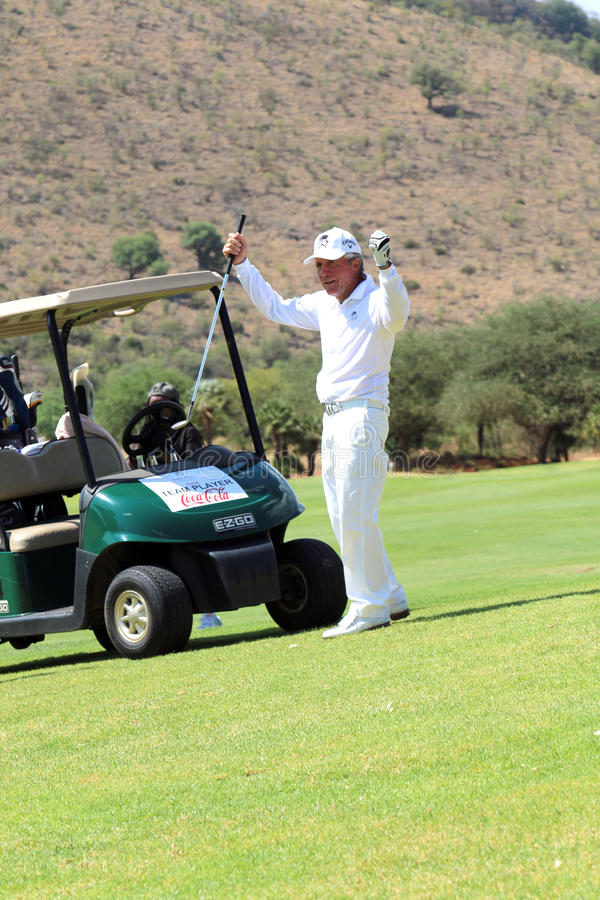 Tournament presenter and grand master Gary Player after the perfect drop shop at the 18th on November 2015 in South Africa stock images