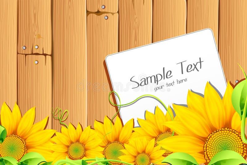 Tournesol avec l'étiquette illustration stock