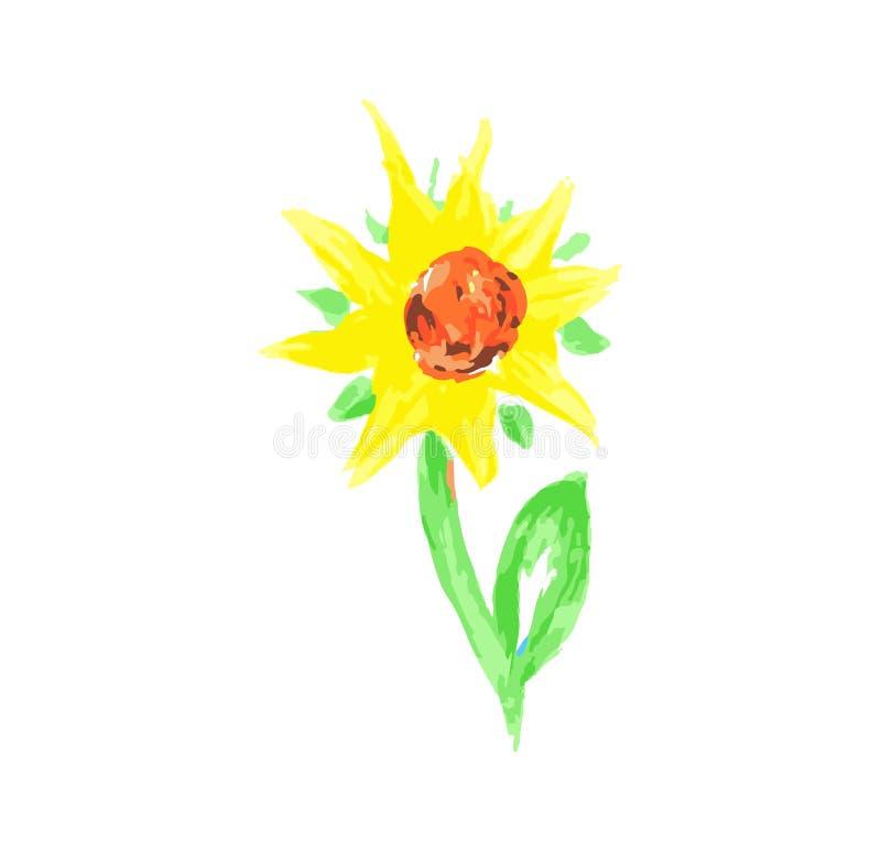 Tournesol de fleur d'aquarelle peinte à la main et plan rapproché croissants de feuilles d'isolement sur le fond blanc illustration stock