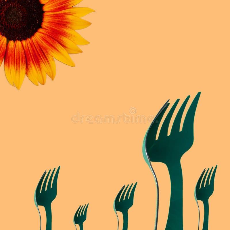 Tournesol et un groupe de fourchettes illustration de vecteur