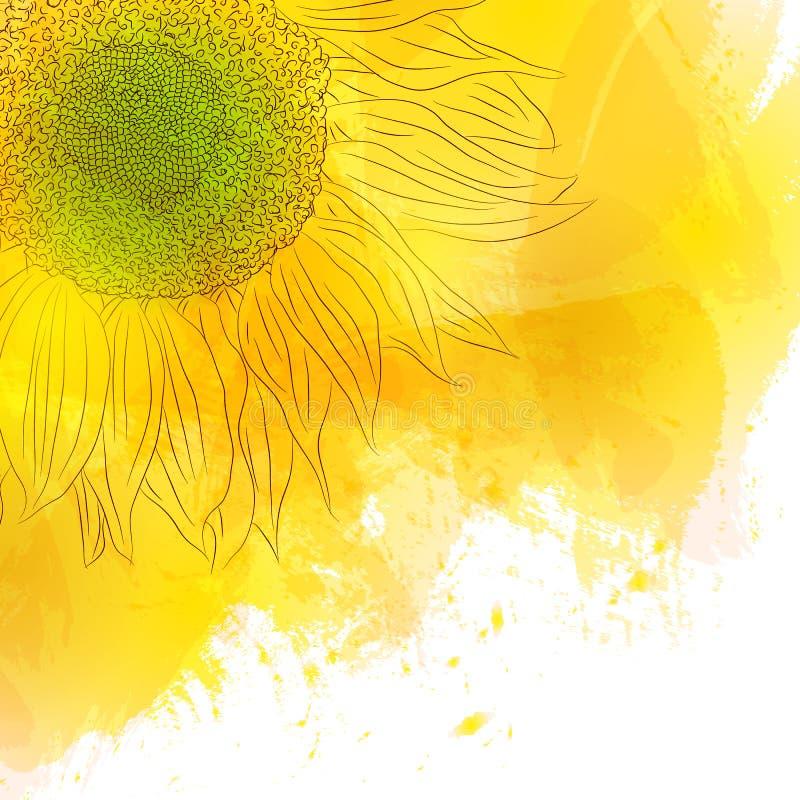 Tournesol Fleur jaune ensoleillée lumineuse sur le fond d'aquarelle photo libre de droits