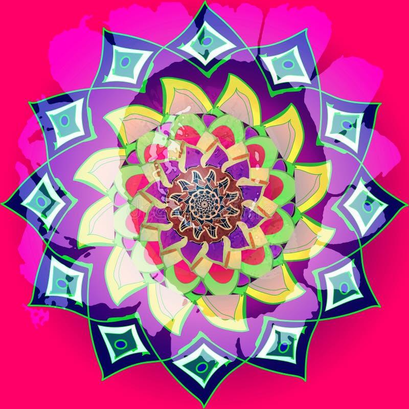 Tournesol fuchsia dans le style indien, mandala asymétrique dans des couleurs lumineuses jaune, fuchisa, pourpre, bleu, rose fleu images libres de droits