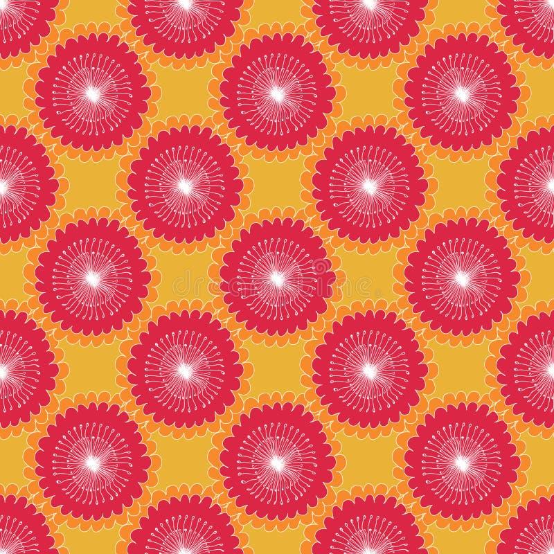Tournesols abstraits graphiques de modèle floral sans couture, éléments circulaires, blanc rouge sur le fond orange, tissu illustration de vecteur