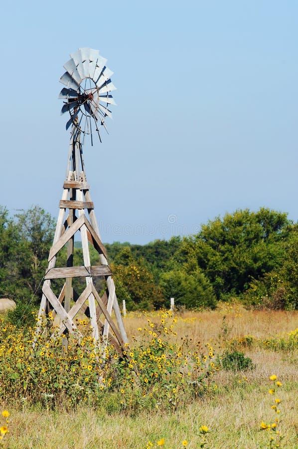 Tournesols et moulin à vent de Kanasas image stock