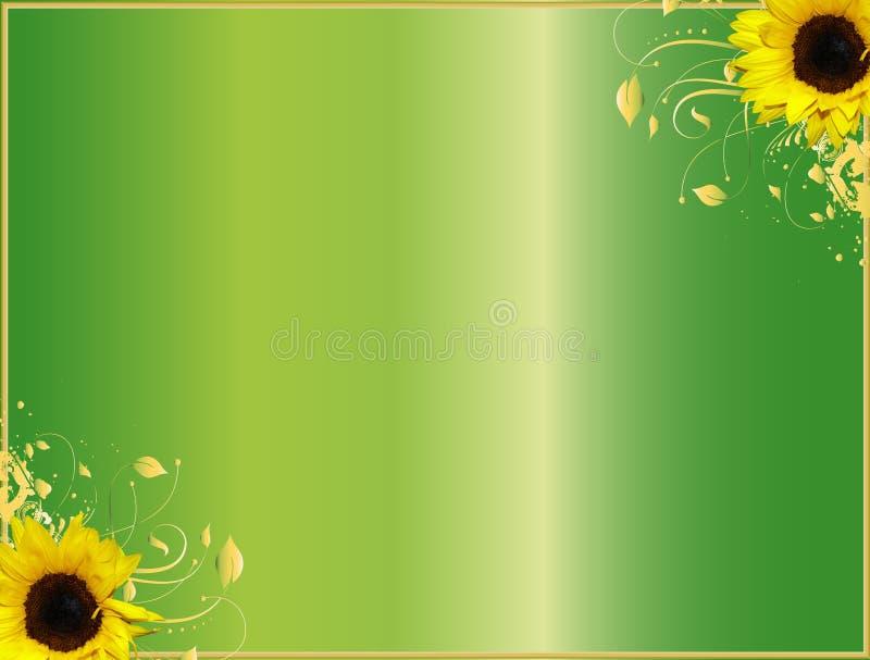 Tournesols faisants le coin floraux de conception illustration de vecteur