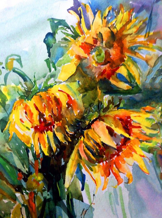 Tournesols floraux texturisés vibrants frais créatifs de jaune de bouquet de fleurs de fond d'art d'aquarelle illustration libre de droits