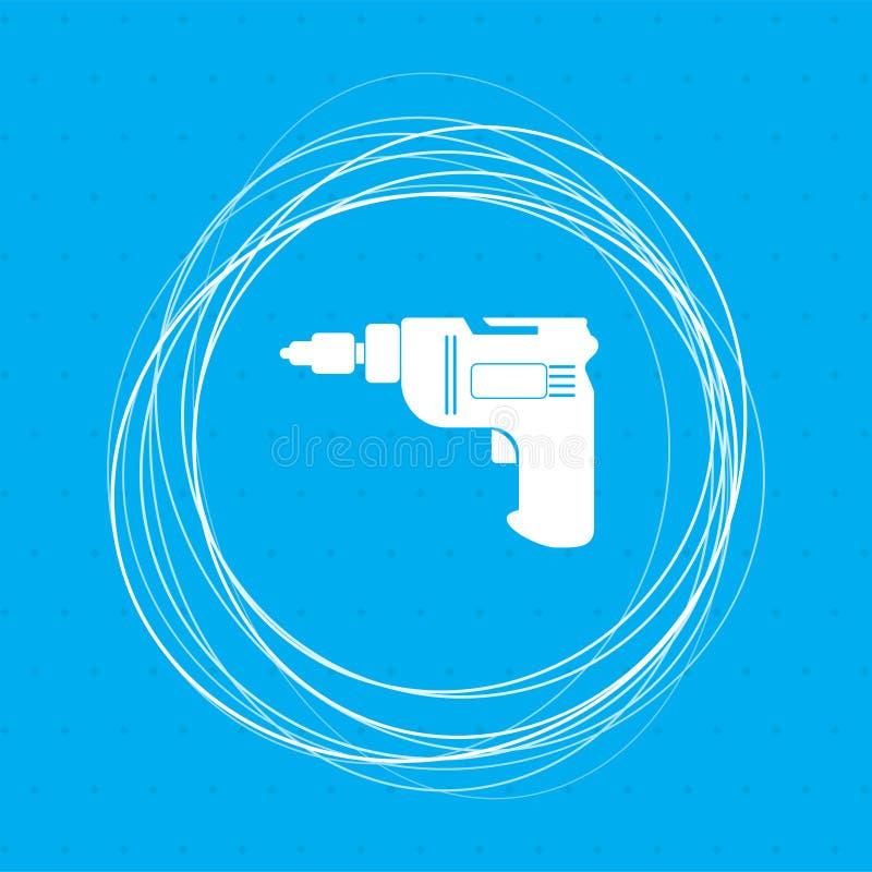 Tournevis, icône de foret de puissance sur un fond bleu avec les cercles abstraits autour de et l'endroit pour votre texte illustration stock