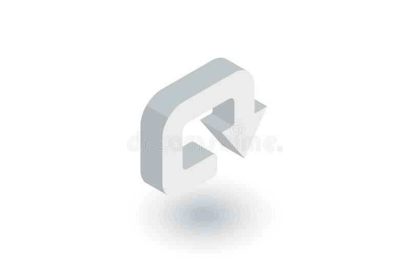 Tournez, entourez, icône plate isométrique de tour rond vecteur 3d illustration libre de droits