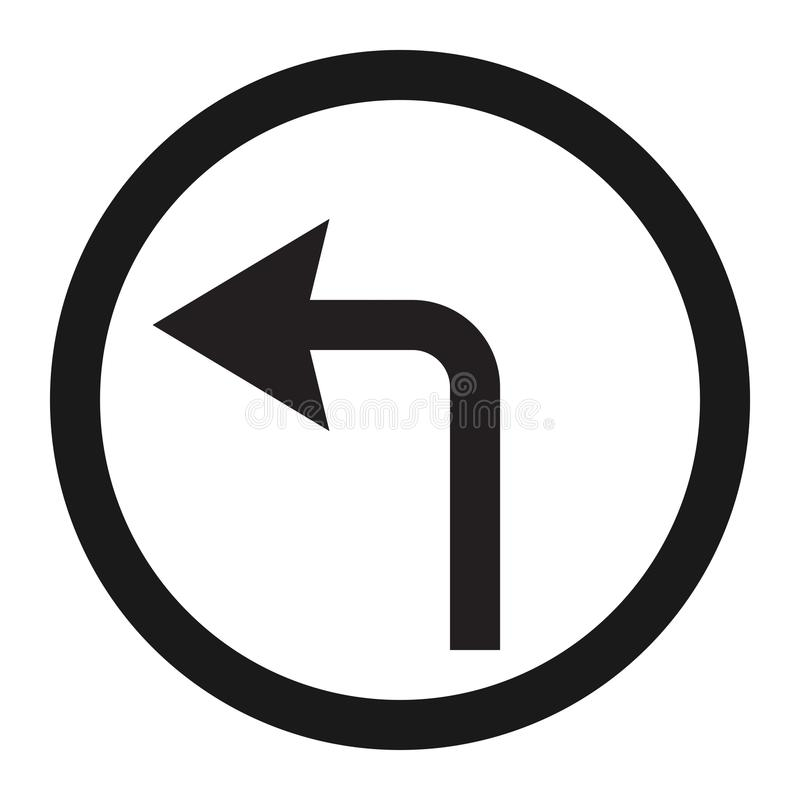 Tournez la ligne icône de signe de flèche gauche illustration de vecteur