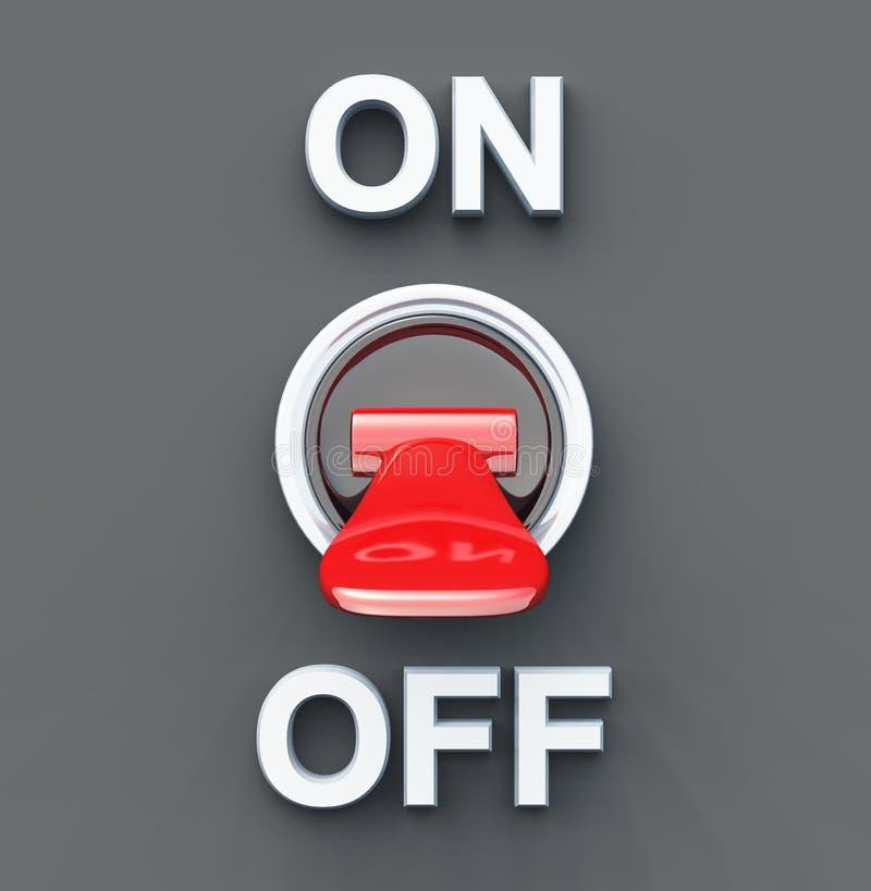 Tournez le commutateur rouge de mise hors tension - illustration de vecteur