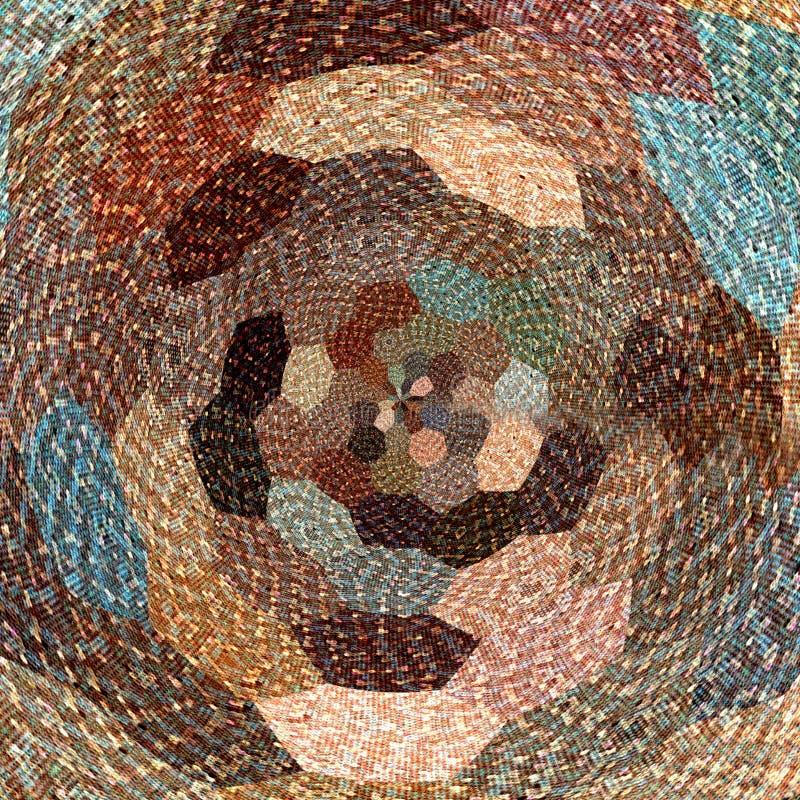 Tournez le fond hexagonal dans le brun en pastel, le bleu et le beige avec l'effet tricoté pour la bannière ou la carte image libre de droits