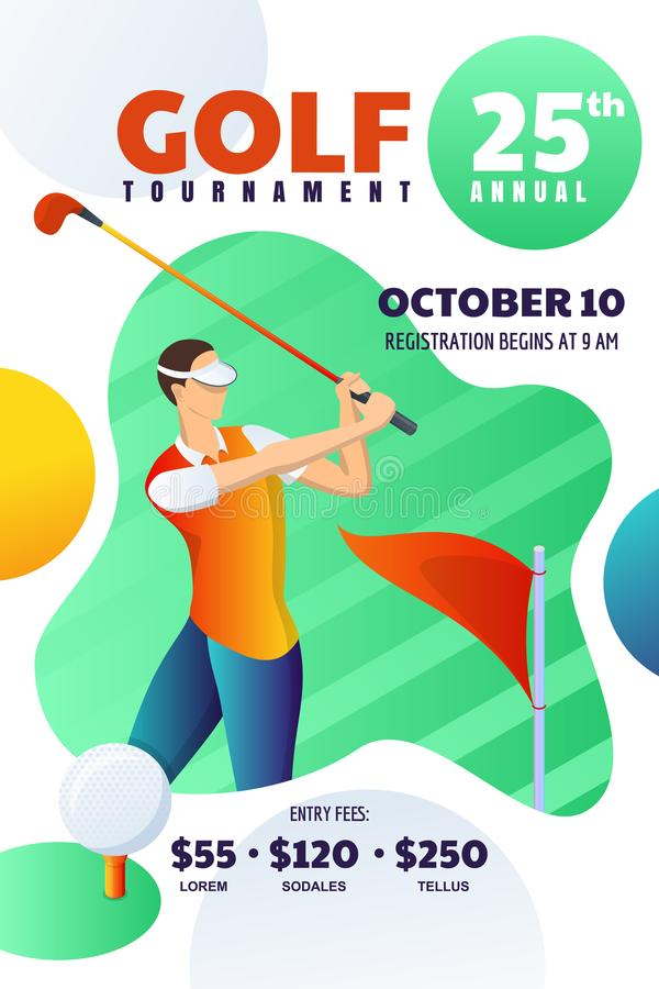 Tournoi de golf ou concurrence, affiche, insecte, disposition de billet Dirigez l'illustration de l'homme jouant au golf et frapp illustration libre de droits