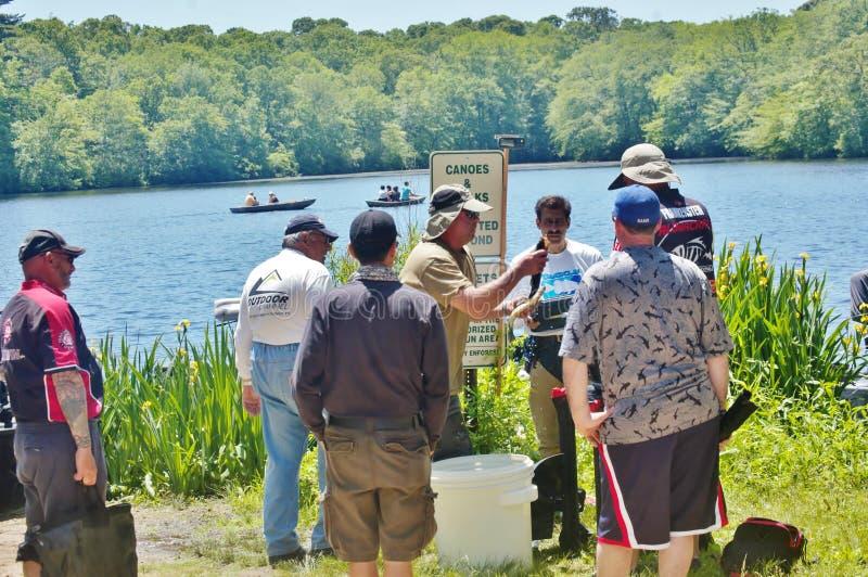 Tournoi 2015 de pêche au Long Island New York images libres de droits