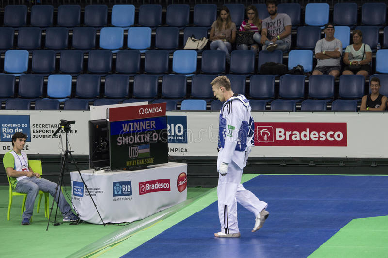 Tournoi international du Taekwondo - Rio 2016 événements d'essai - UZB contre IRI photographie stock