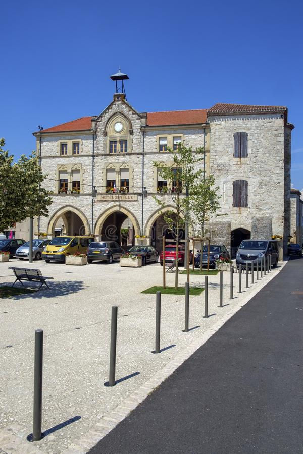 The town square is deserted  on a sunny summer afternoon in picturesque Tournon d`Agenais stock photo