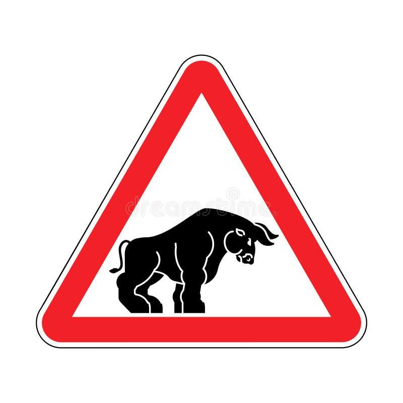 Touro da atenção Búfalo do cuidado Perigo vermelho do sinal de estrada ilustração do vetor