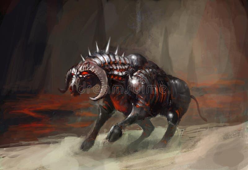 Touro do cavaleiro da armadura ilustração stock