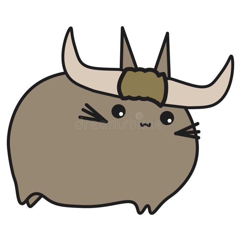 Touro do sinal do zodíaco do coelho no estilo dos desenhos animados ilustração stock