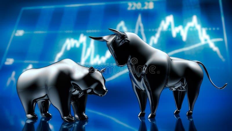 Touro e urso de prata com os gráficos do mercado de valores de ação - ilustração do vetor