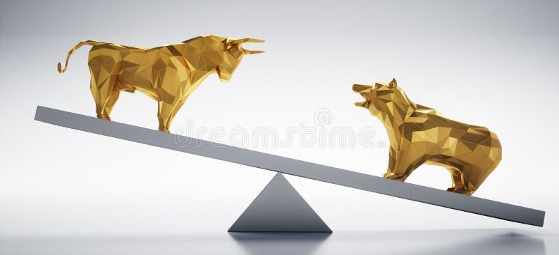 Touro e urso dourados - mercado de valores de ação do conceito acima e penas ilustração royalty free