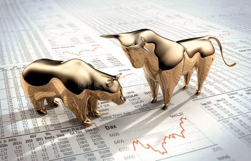 Touro e urso dourados - mercado de valores de ação do conceito ilustração do vetor