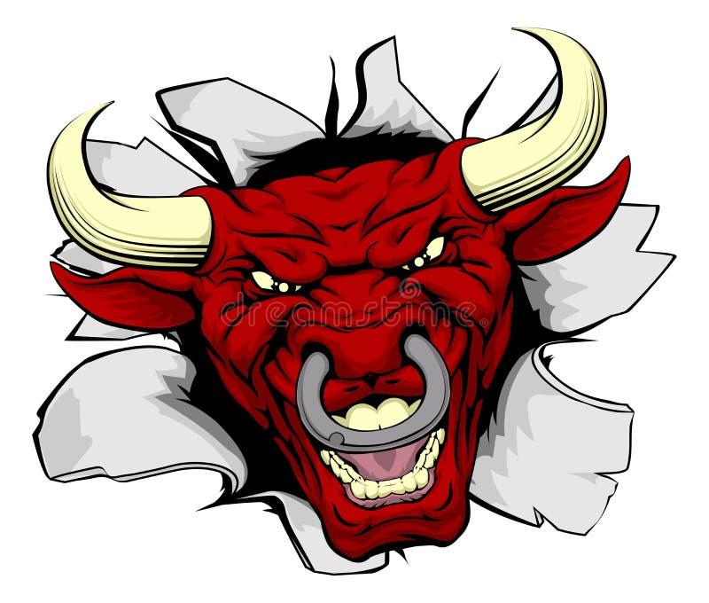 Touro vermelho que despedaça-se para fora ilustração stock
