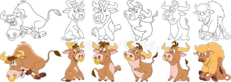 Touros dos desenhos animados ajustados ilustração royalty free
