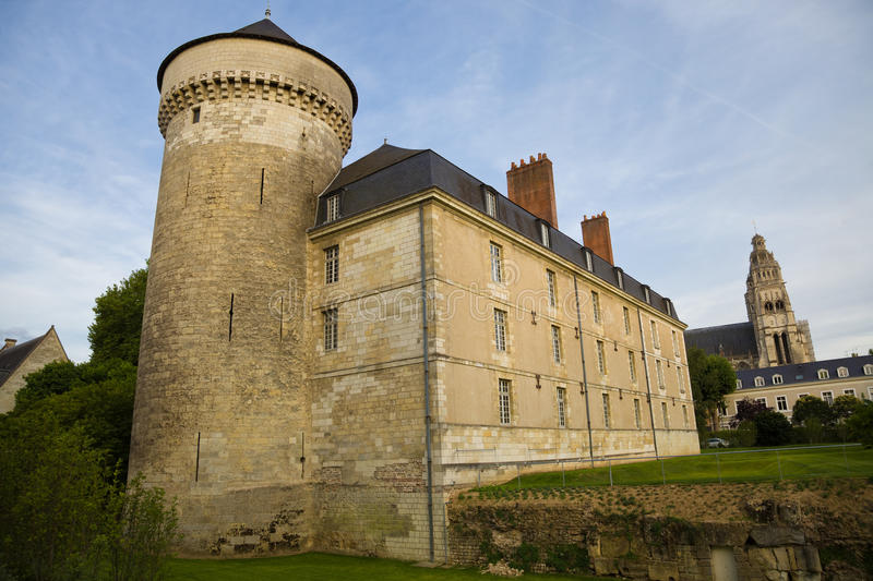 Tours Chateau at sunset royalty free stock photography