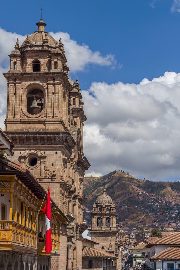 Tours de Bell d'églises de cathédrale Cuzco Pérou images libres de droits