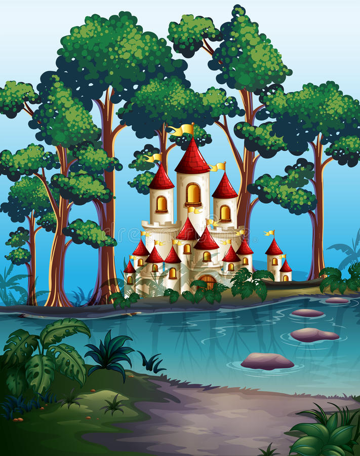 Tours de château dans la forêt illustration de vecteur