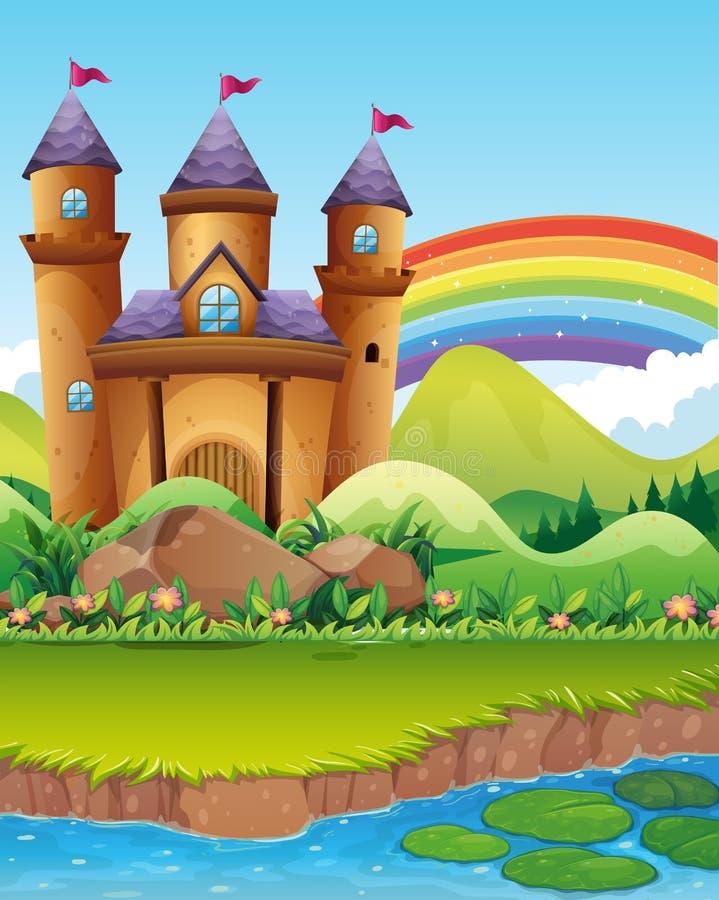 Tours de château par l'étang illustration stock