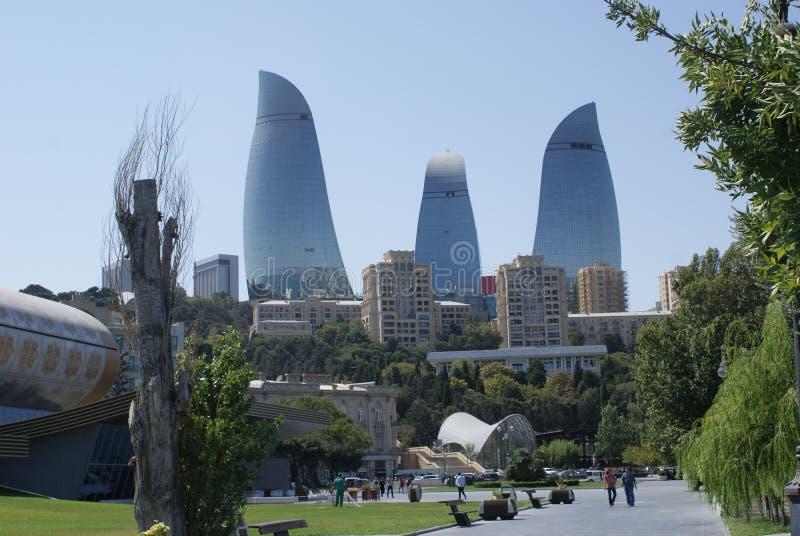 Tours de flamme, Bakou, Azerbaïdjan photo libre de droits