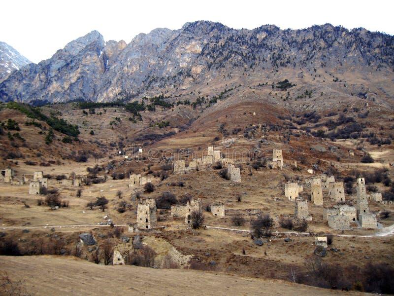 Tours de l'Ingouchie Architecture antique et ruines photographie stock