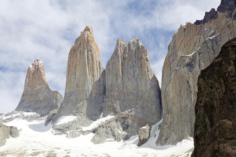 Tours de Paine au parc national de Torres del Paine, Patagonia chilien, Chili photo stock