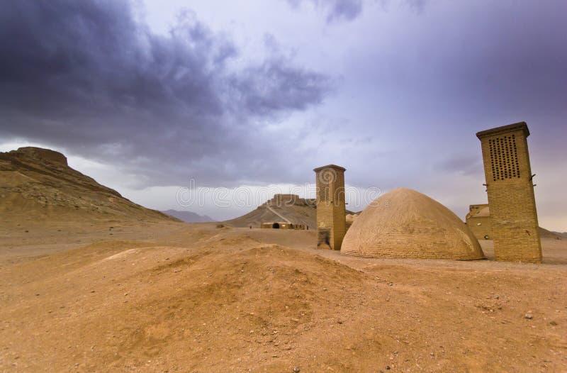 Tours de silence dans Yazd, Iran au coucher du soleil photographie stock libre de droits