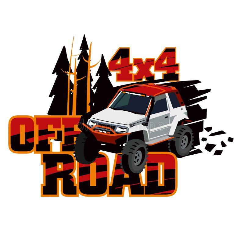 Tours de SUV dans le sauvage Logo de l'événement Rassemblez sur le terrain accidenté sur une voiture accordée illustration libre de droits
