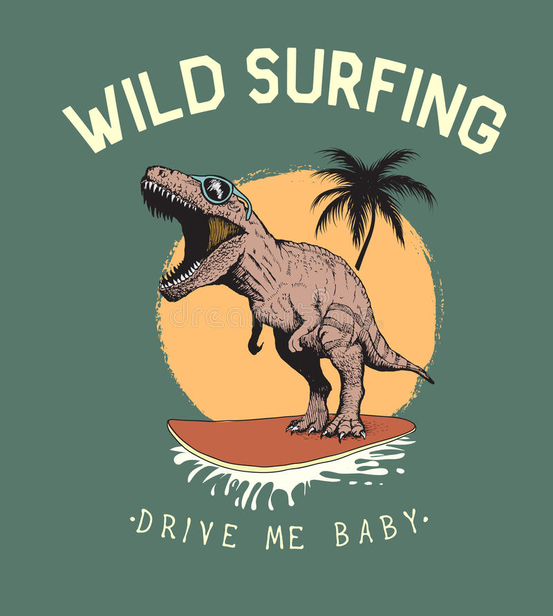 Tours de tyrannosaure de surfer sur la planche de surf illustration libre de droits