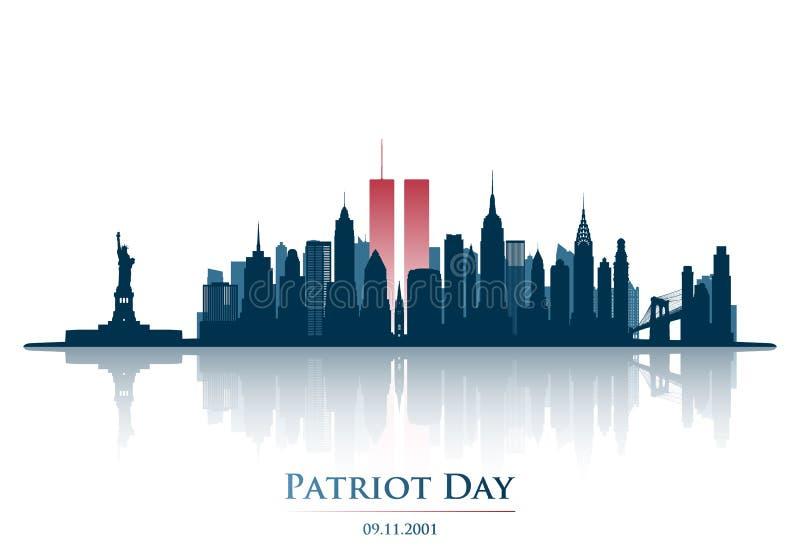 Tours jumelles dans l'horizon de New York City World Trade Center illustration de vecteur