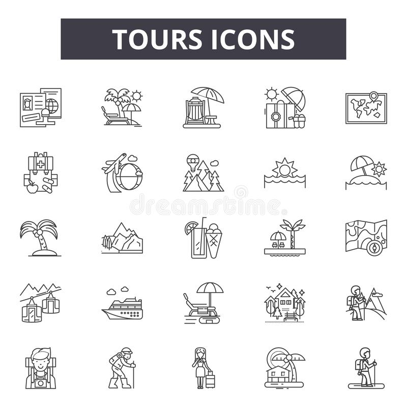 Tours line icons, signs, vector set, outline illustration concept stock illustration