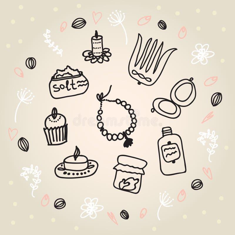 Tours peints de femelle Perles, peigne, miroir, poudre, bougie, sel de bain, capkake, cosmétiques Illustration de vecteur sur un  illustration de vecteur