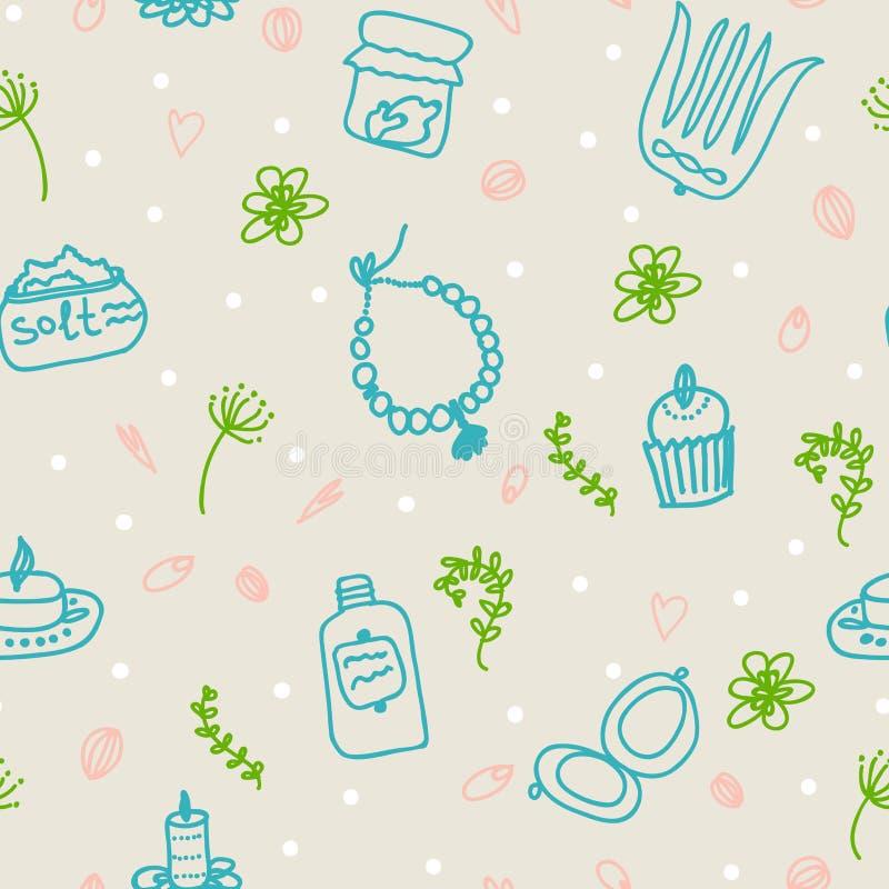 Tours peints de femelle Perles, peigne, miroir, poudre, bougie, sel de bain, petit gâteau, cosmétiques Configuration de vecteur illustration libre de droits