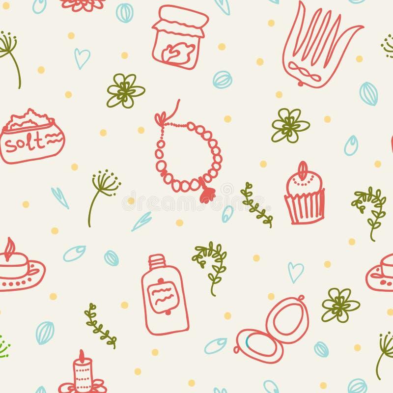 Tours peints de femelle Perles, peigne, miroir, poudre, bougie, sel de bain, petit gâteau, cosmétiques Configuration de vecteur illustration de vecteur