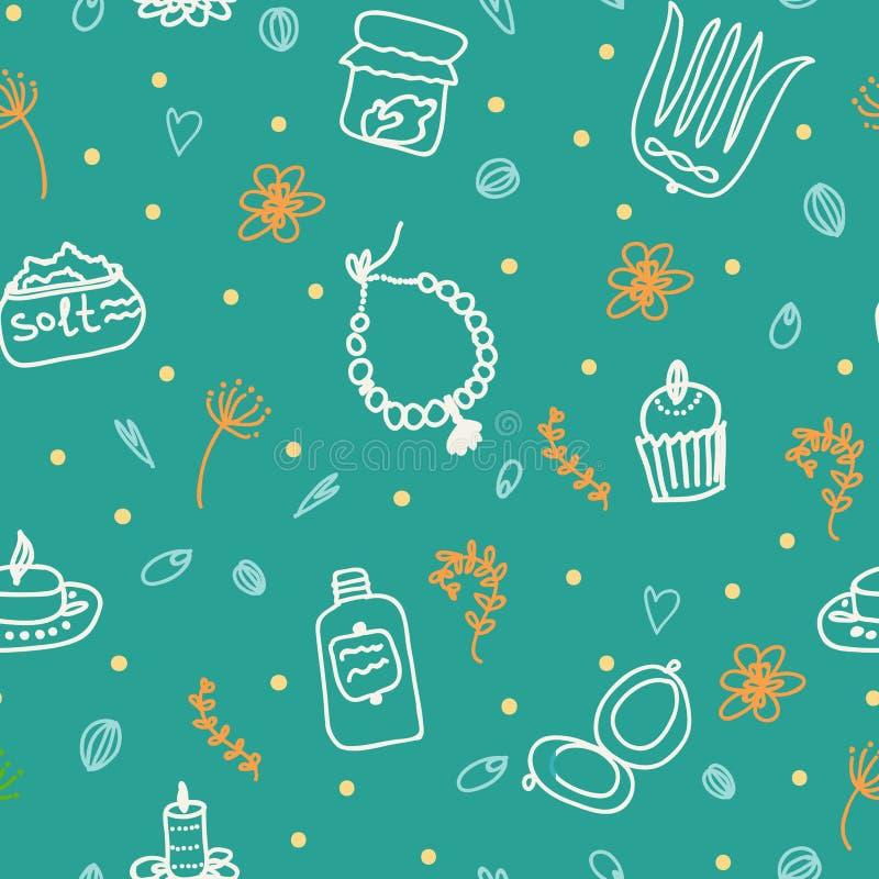 Tours peints de femelle Perles, peigne, miroir, poudre, bougie, sel de bain, petit gâteau, cosmétiques Modèle de vecteur sur un f illustration de vecteur