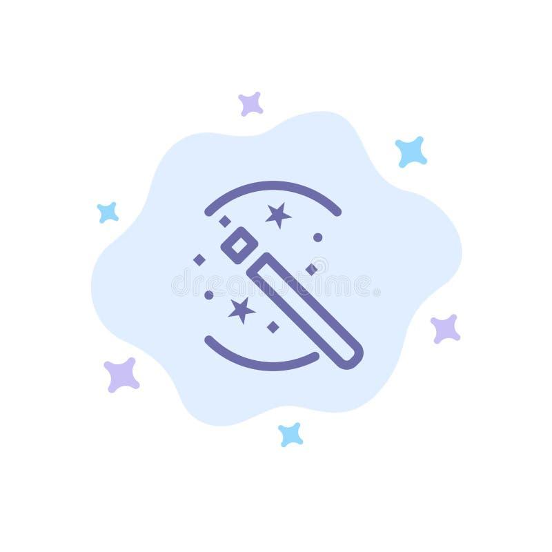 Tours, solution, magie, icône bleue de bâton sur le fond abstrait de nuage illustration stock