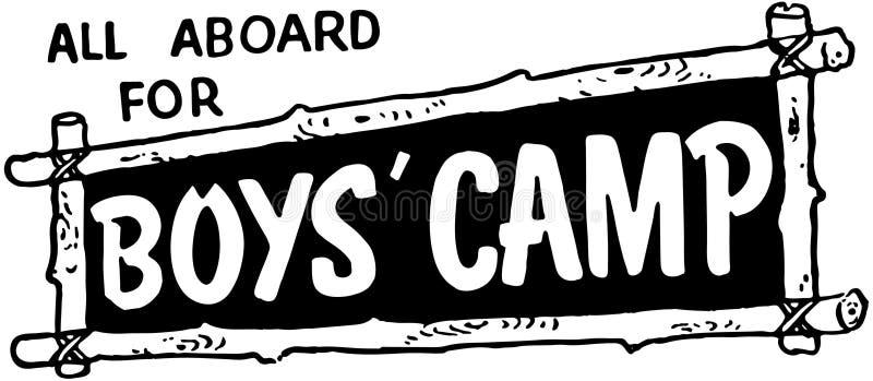 Tous à bord pour le camp de garçons illustration stock