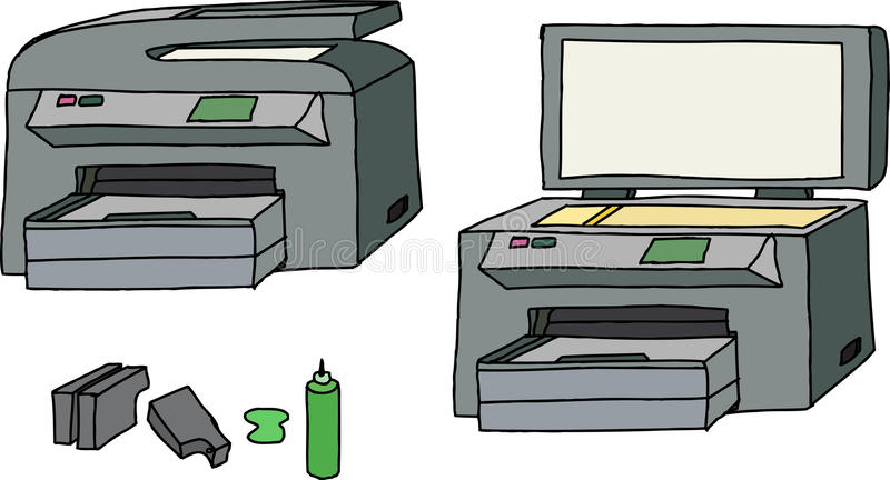 Tous dans une imprimante illustration stock