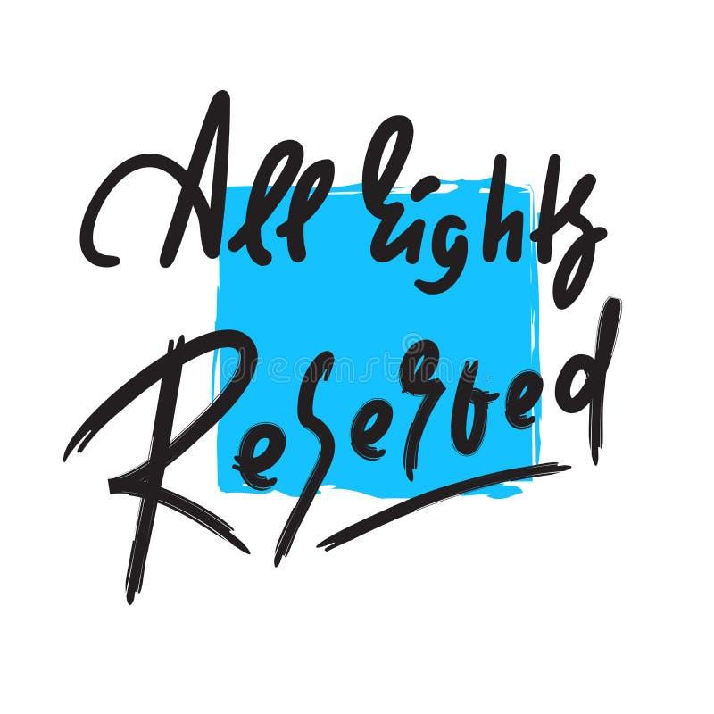 Tous droits réservés - inspirer la citation de motivation illustration stock