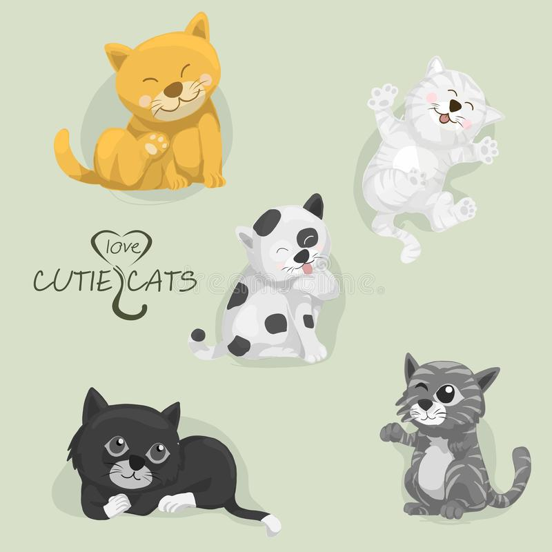 Tous les chats de cutie de bande dessinée, ensemble de chats de bande dessinée, vecteur illustration stock