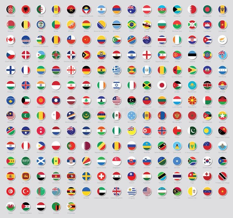 Tous les drapeaux nationaux des autocollants du monde avec des noms Drapeaux arrondis, conception circulaire, autocollants Le dra illustration libre de droits